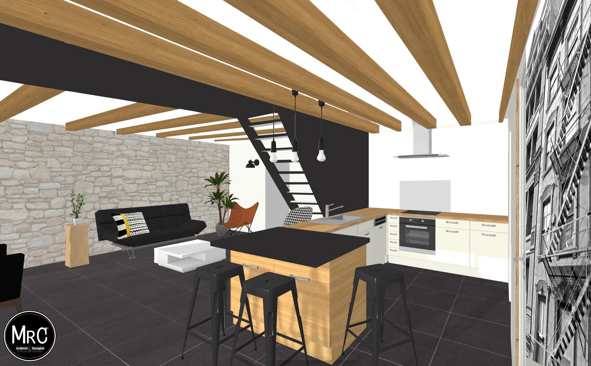 style industriel par clara ajmar mrc architecte d 39 int rieur et paysagiste. Black Bedroom Furniture Sets. Home Design Ideas